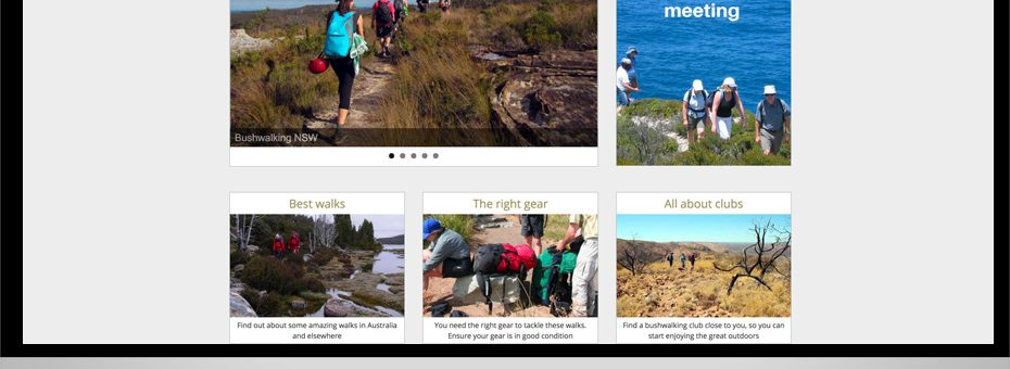 bushwalking nsw club wordpress website with multiple landing pages