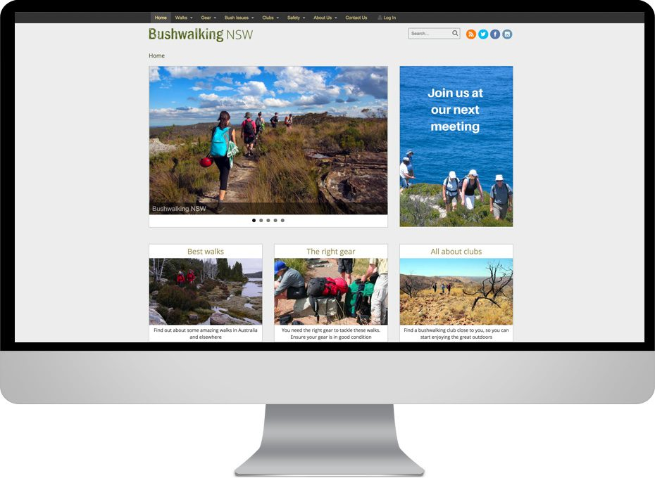 bushwalking nsw club wordpress website with multiple landing pages