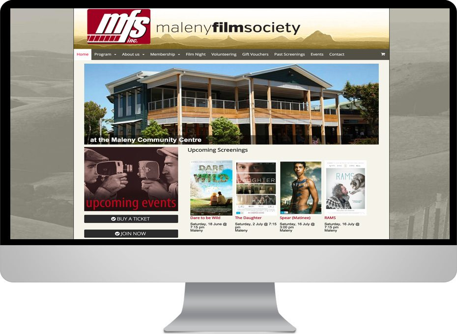 maleny film society ecommerce event calendar wordpress responsive-website