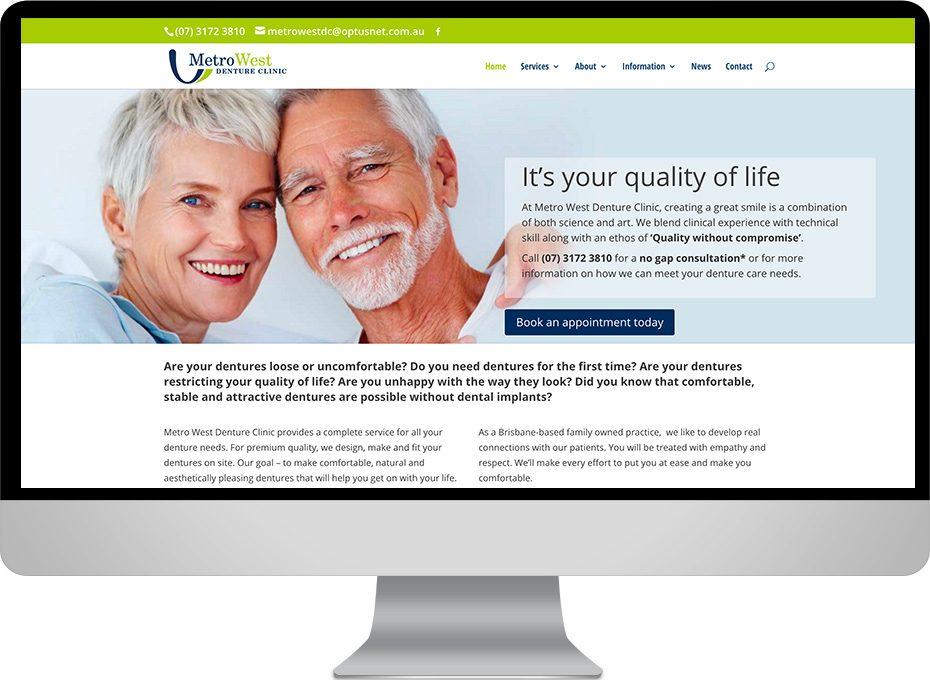 brisbane denture clinic metro west worpress website graphic design and construction
