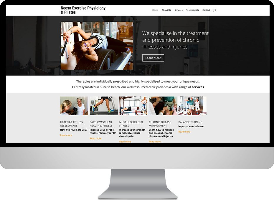 noosa exercise physiology and pilates studio responsive wordpress site for sunrise beach local business